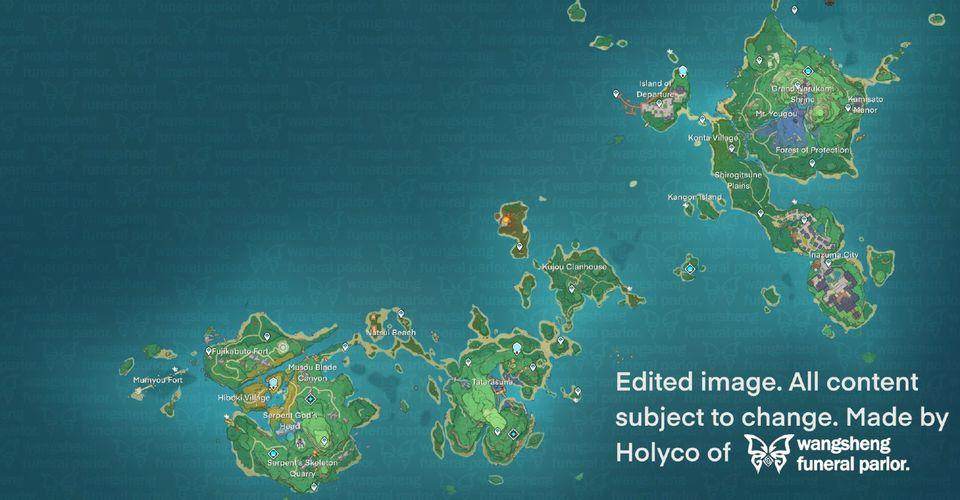 Genshin Impact Inazuma Bölge Haritası